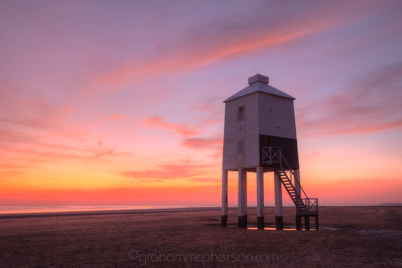 Burnham on Sea Lighthouse with a colourful Pink Sky