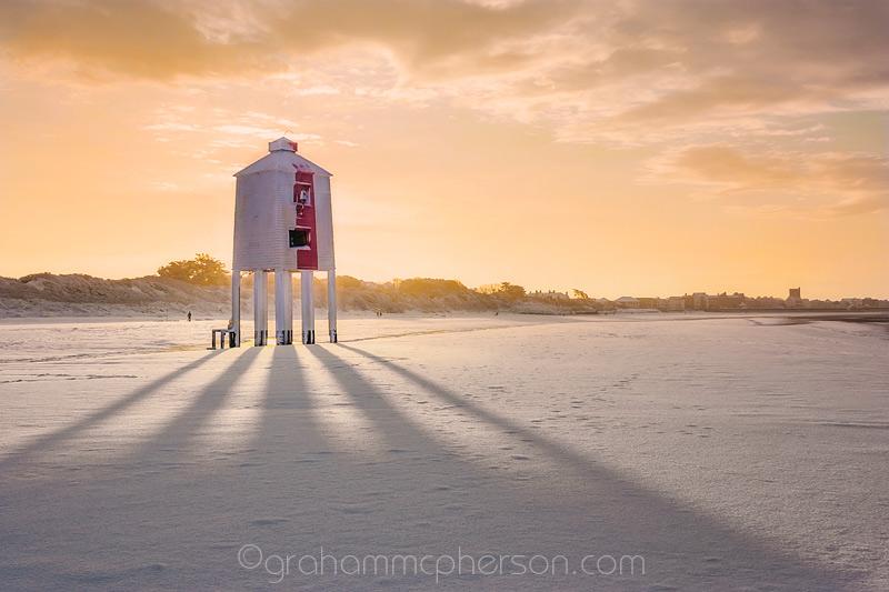 Burnham on Sea Lighthouse Dawn Snow Shadows