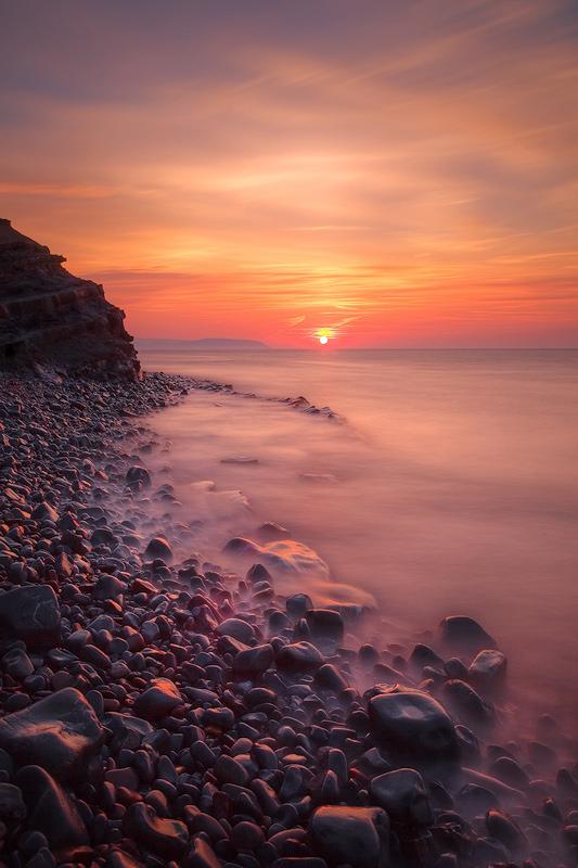 Kilve Coast Setting Sun