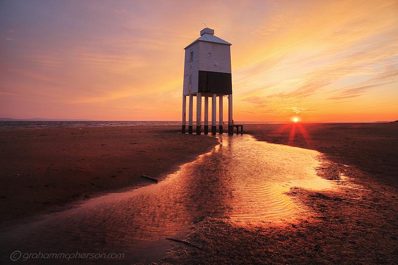 Burnham on Sea Lighthouse Pool Sunset