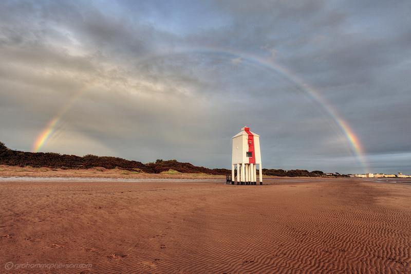 Burnham on Sea Lighthouse Rainbow over the dunes