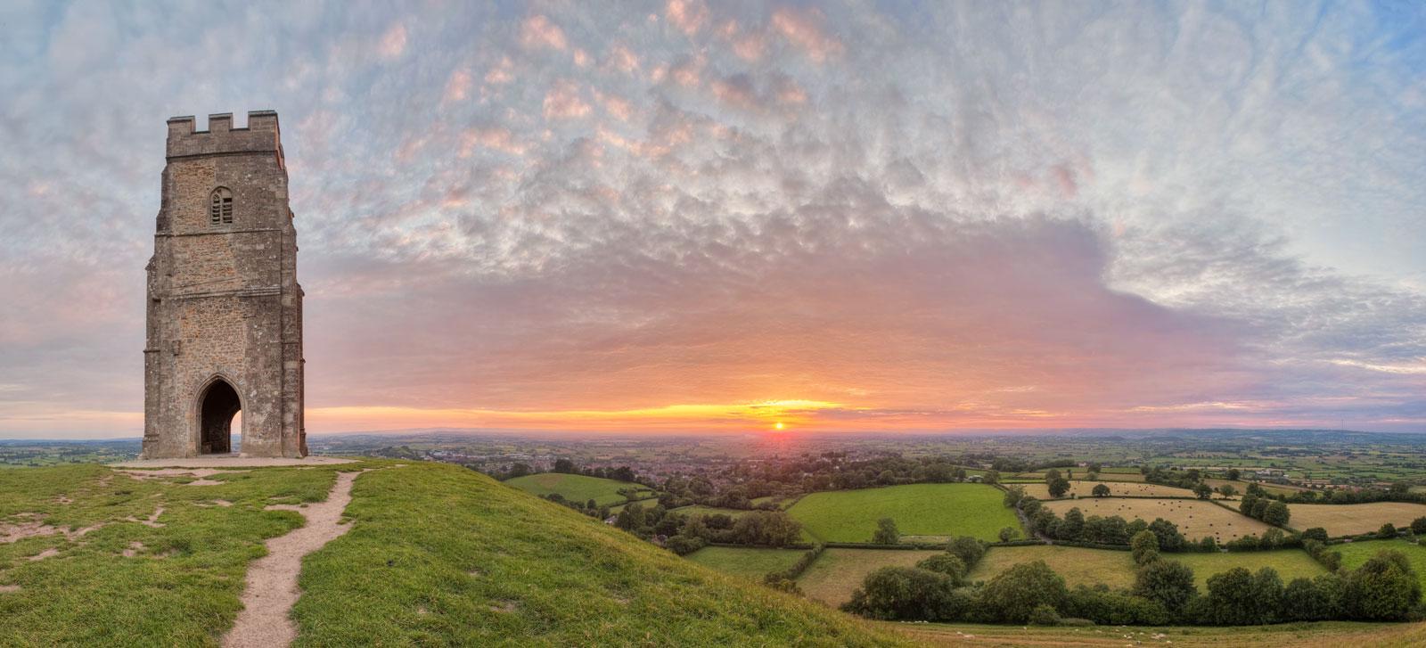 Glastonbury Tor Sunset Panorama