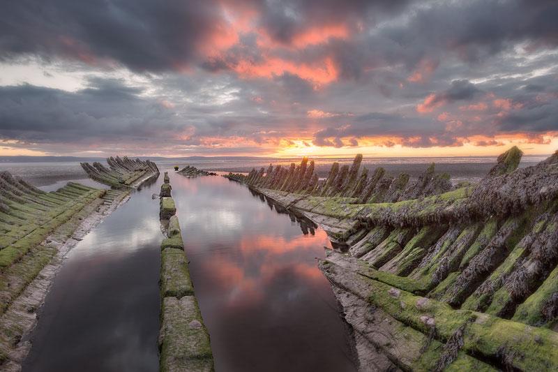 SS Nornen Wreck Pink Sky Reflection