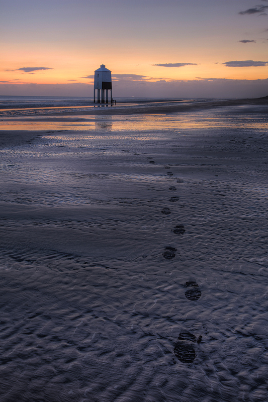 Burnham on Sea Lighthouse Footprints in the sand