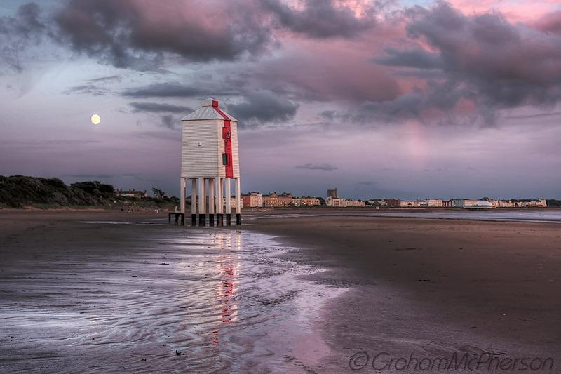 Burnham on Sea Lighthouse Moon Pink
