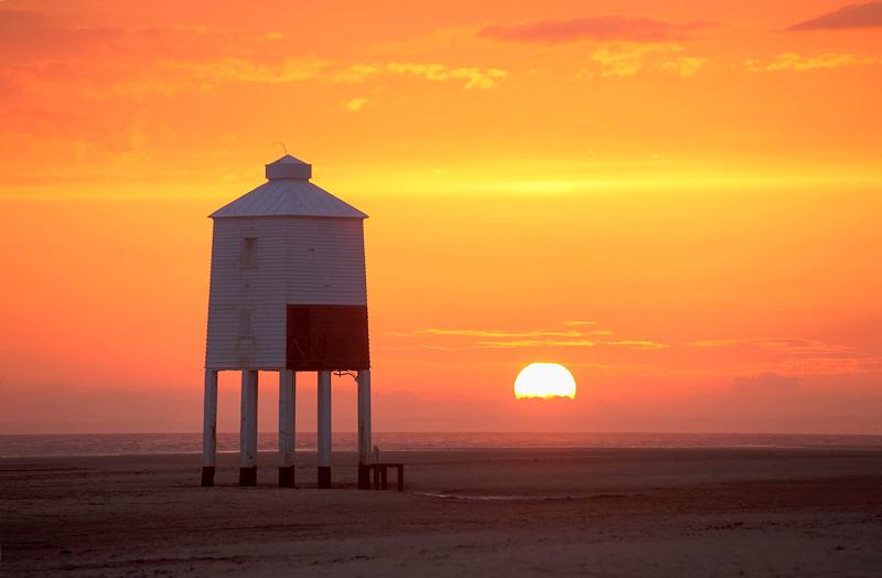 Burnham on Sea Lighthouse Orange Sunset