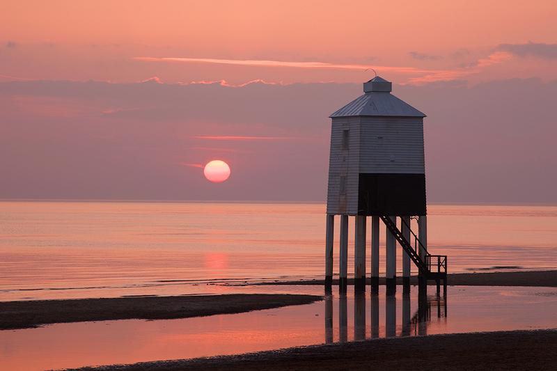 Burnham on Sea Lighthouse Pink Sun