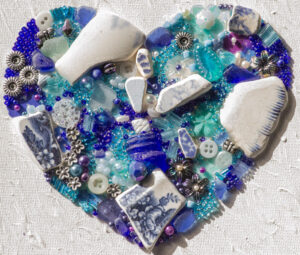 Heart made of beads and sea pottery